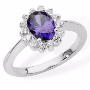 Sterling silver Amethyst and clear cubic zirconia Cluster ring